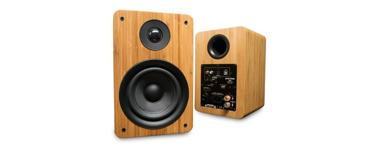 close up shot of Peachtree M25 Powered Speakers